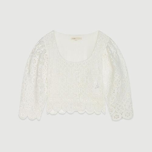 Kurzes Top mit Guipure Margeriten : Tops & Hemden farbe Weiss