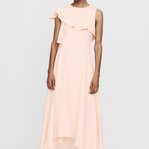Langes asymmetrisches Krepp-Kleid : Kleider farbe PECHE