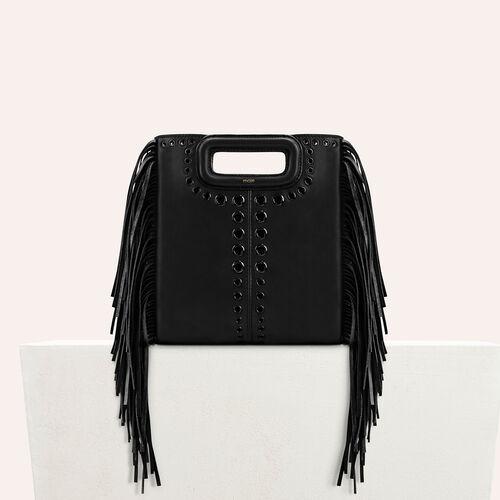 M Tasche aus Leder mit Fransen - M Tasche - MAJE
