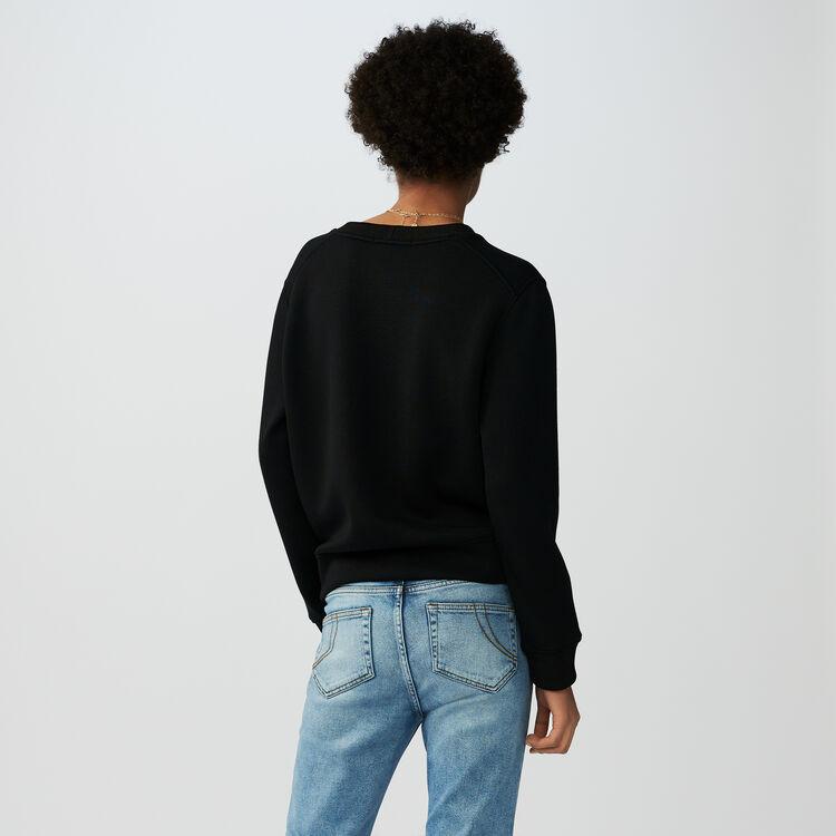 Baumwoll-Sweat-Shirt mit Stickerei : Strickwaren farbe Schwarz