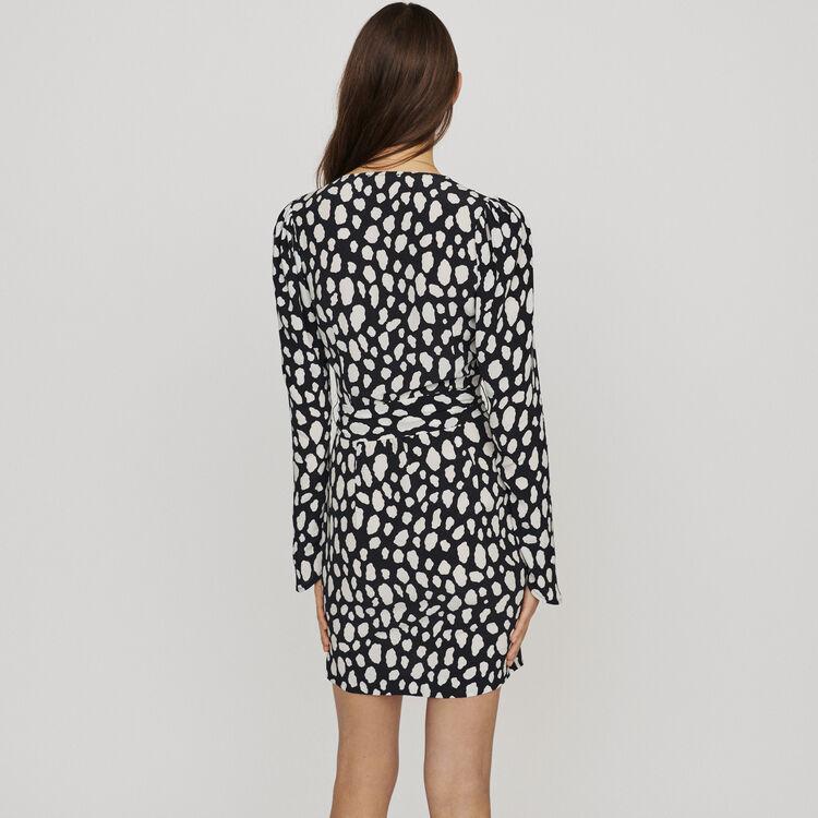 Kurzes Kleid mit Print und Falten : Kleider farbe IMPRIME