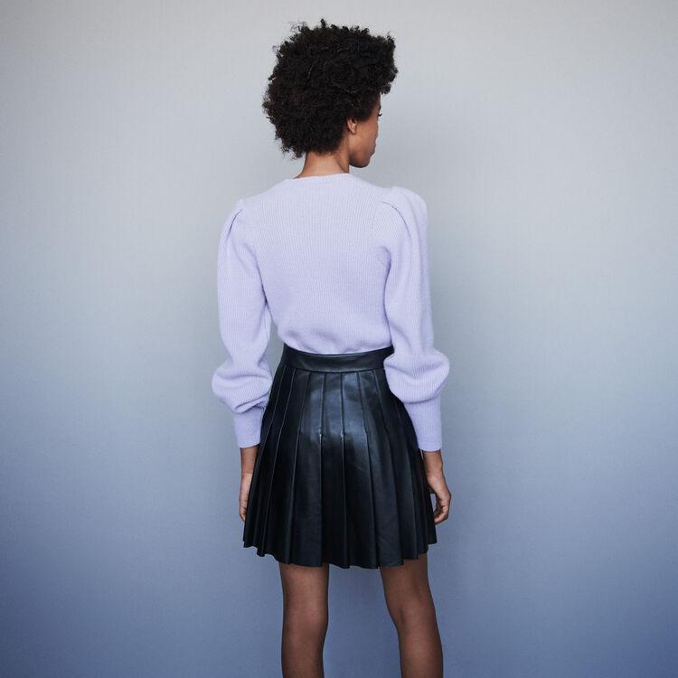 Plissee Rock aus Leder : Röcke & Shorts farbe Schwarz