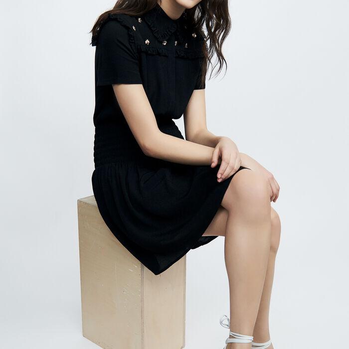 Kurzes Kleid mit Bienenbesatz : Kleider farbe Schwarz