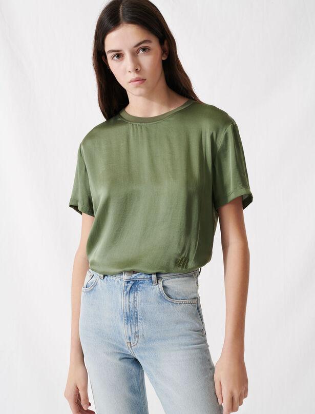 마쥬 탑 MAJE T-Shirt aus Seide und Baumwolle