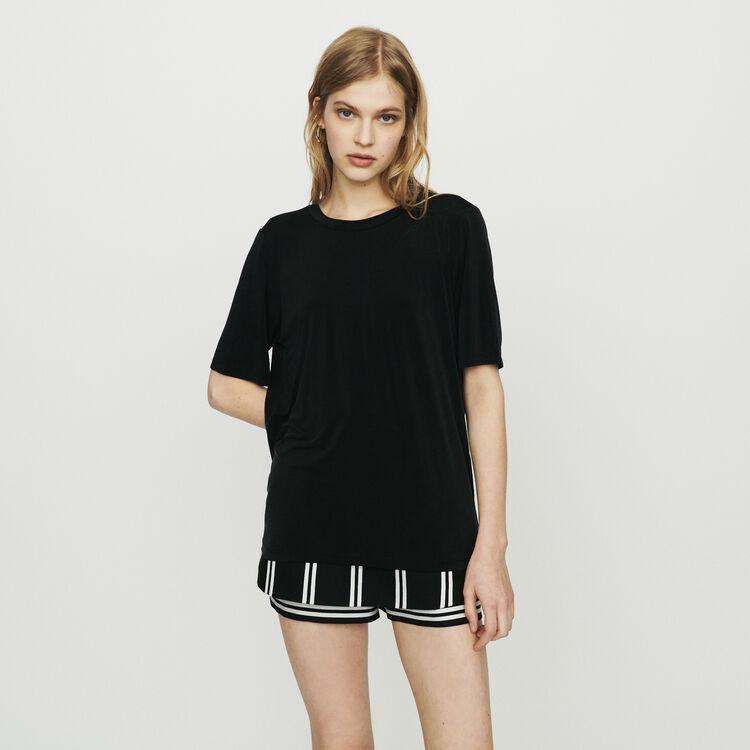 T-Shirt aus Cupro : T-Shirts farbe SCHWARZ