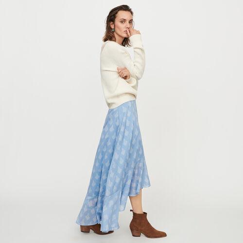Langer Rock mit Print und Volants : Röcke & Shorts farbe Blau