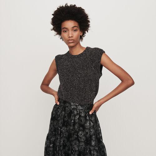 Ärmelloser Pullover aus Lurex : Pullover & Strickjacken farbe Silber