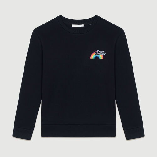 Fleece-Sweatshirt mit Print : Sweatshirts farbe Schwarz