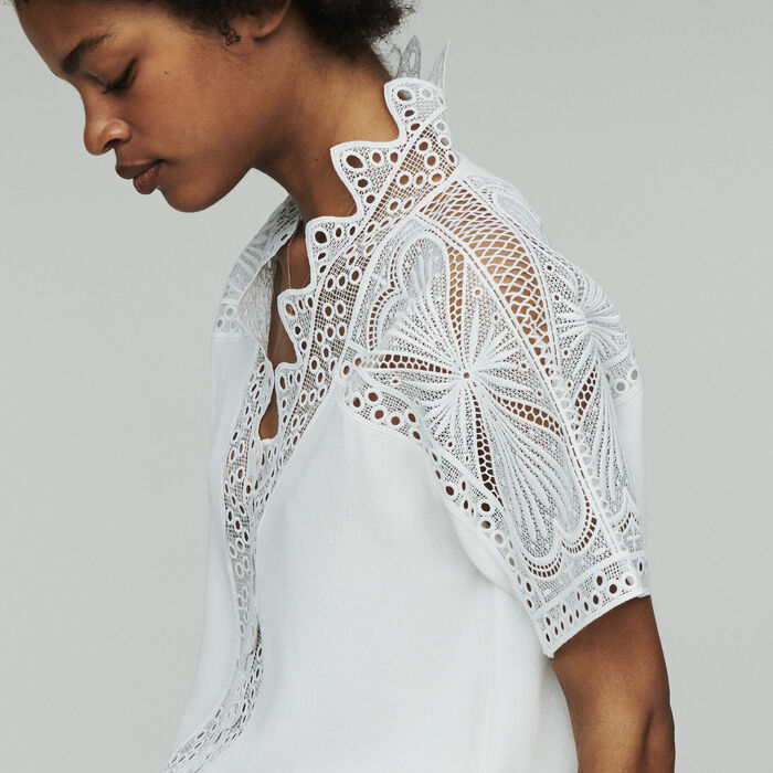 Guipure Top : Tops & Hemden farbe  Off-White