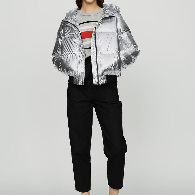 Kurze Nylon-Knitterjacke : Mäntel farbe Silber