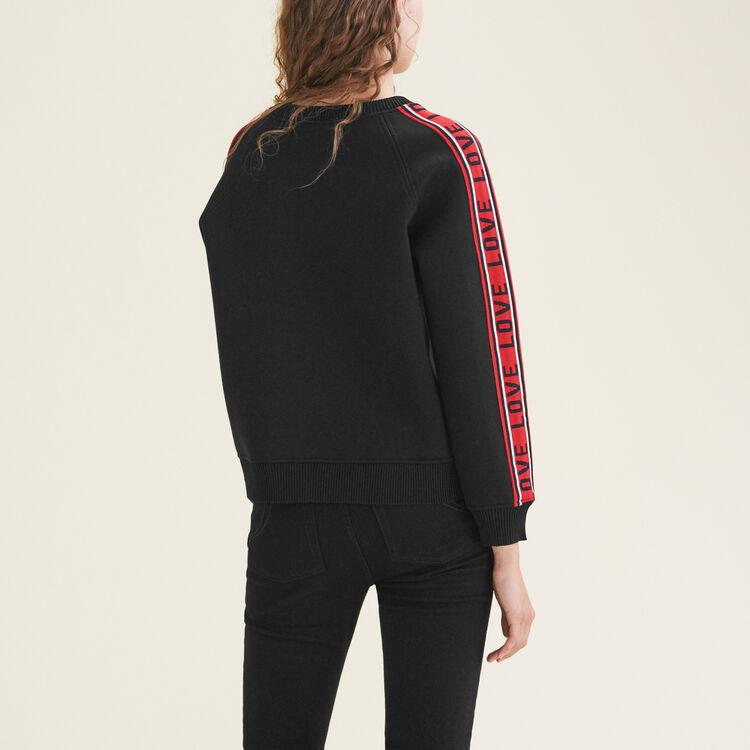 Sweatshirt aus Neopren mit Streifen : Strickwaren farbe Schwarz