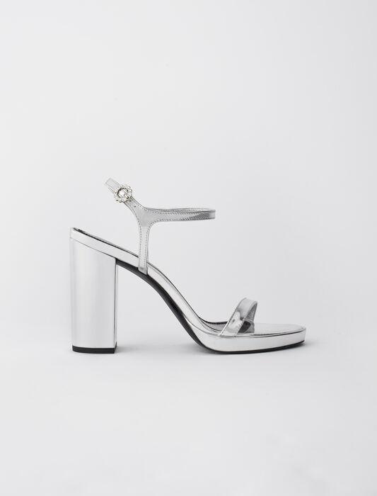 Absatzsandalen aus Metallic-Leder : Alle Schuhe farbe Silber