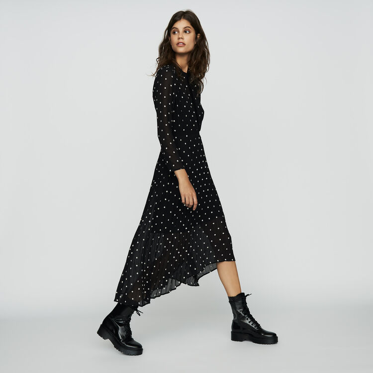 Langes Plissee-Kleid mit Stickereien : Bekleidung farbe SCHWARZ