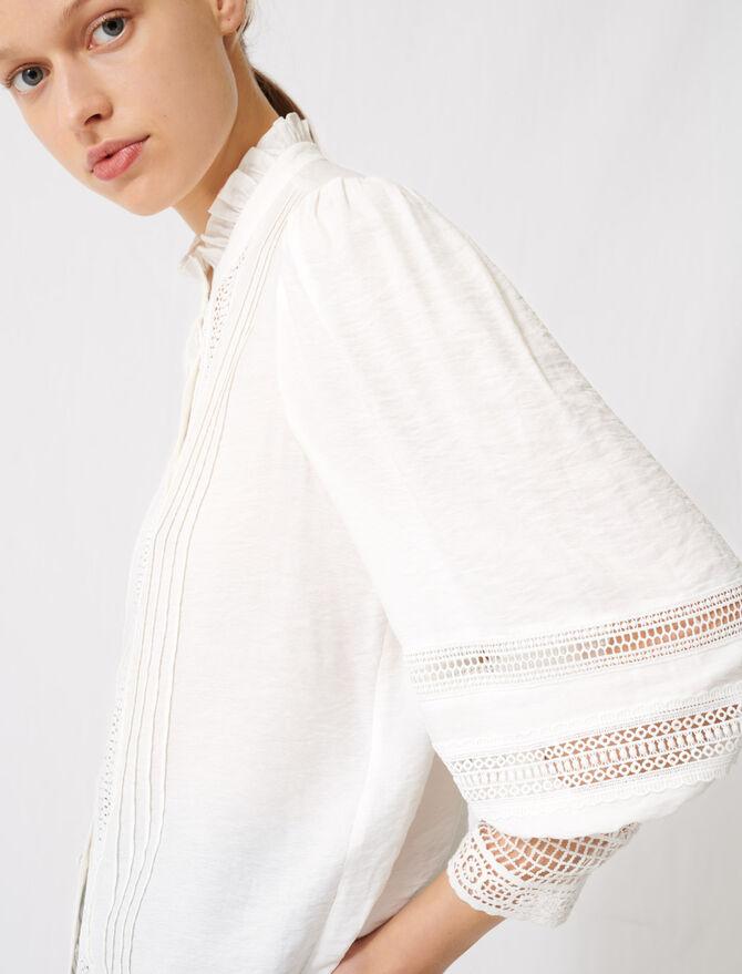 Romantische Baumwoll- und Spitzenbluse - Tops & Hemden - MAJE