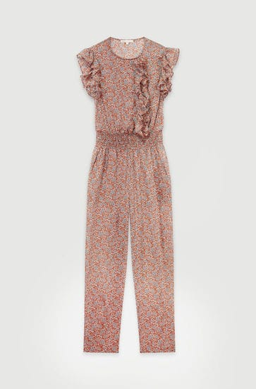 Floral-print cotton voile jumpsuit