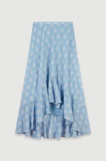 Long printed ruffle skirt