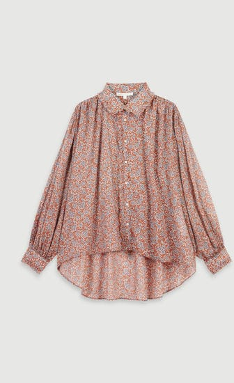 Printed- cotton voile shirt