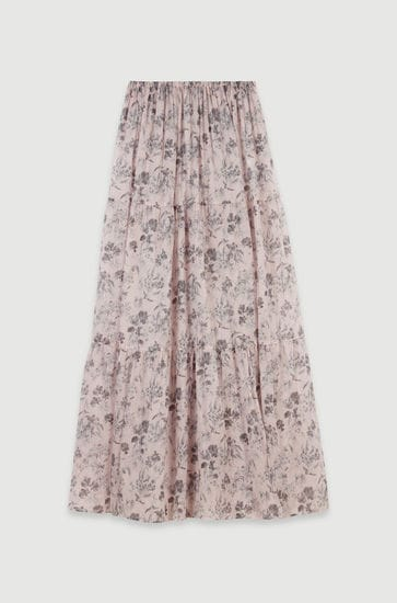 Long floral-print cotton voile skirt