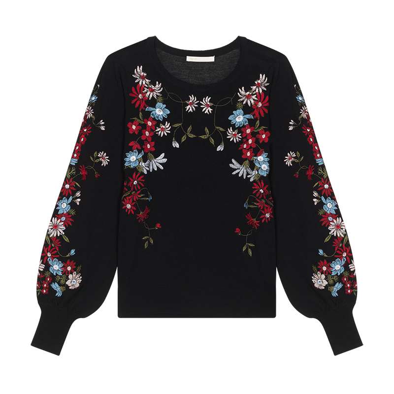 Jumper with flowers embroideries - Strickwaren - MAJE