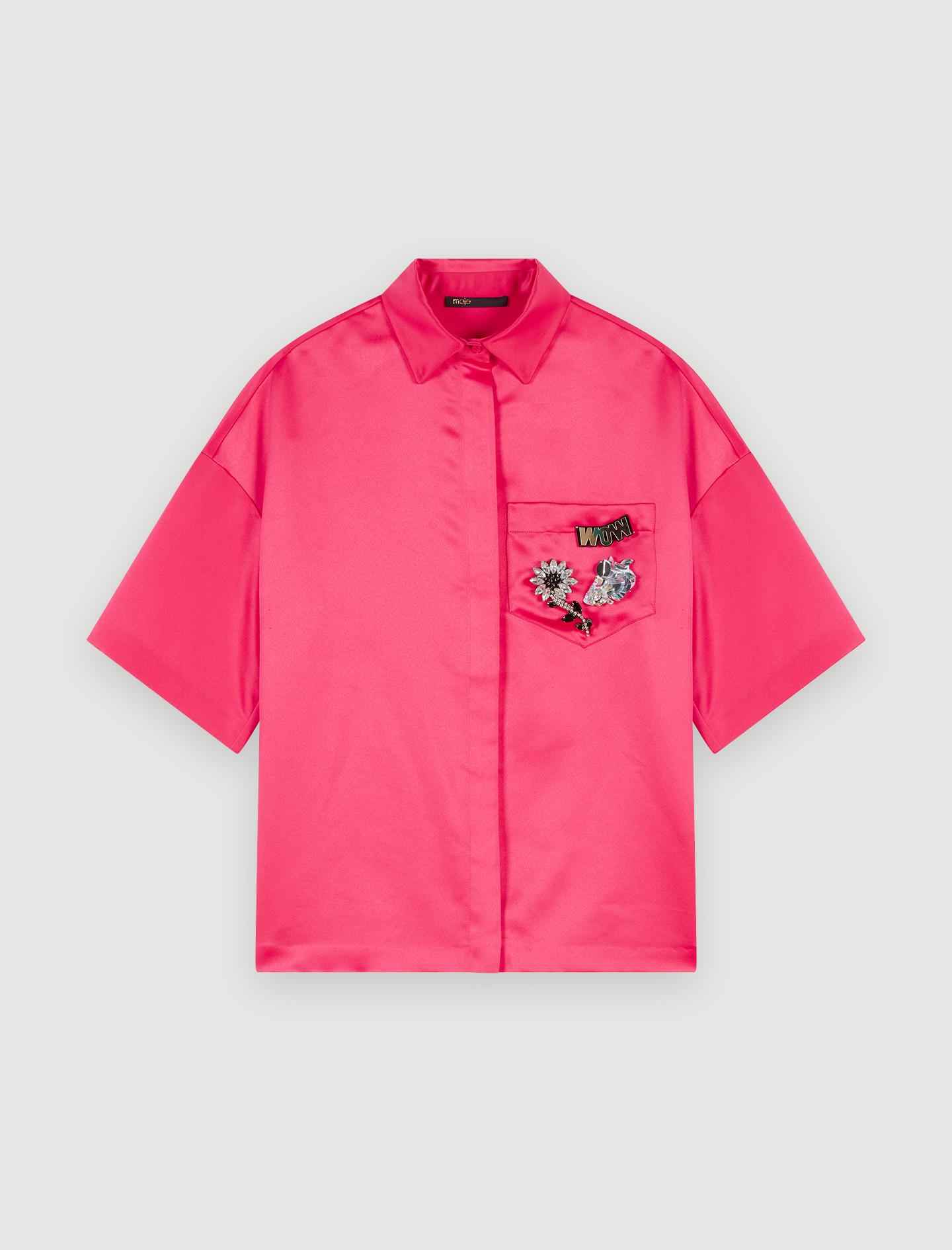 Satin Bluse mit Schmuck auf der Tasche - Tops & Hemden - MAJE