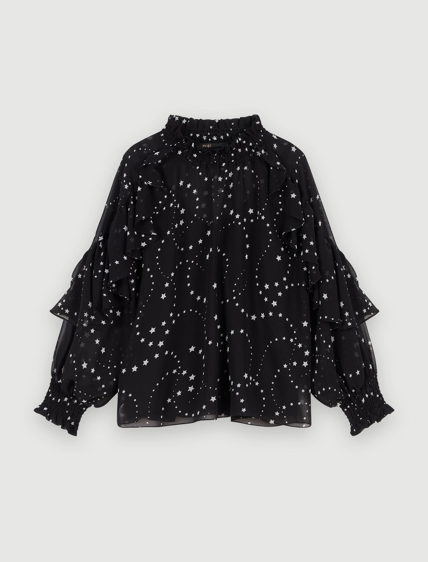 Rüschen Top aus bedrucktem Mousselin - Tops & Hemden - MAJE